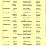 Church Service Times - December 2011 to January 2012