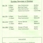 Church Service Times - October 2012