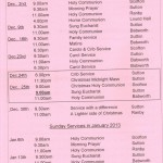 Church Service Times - December 2012 to January 2013
