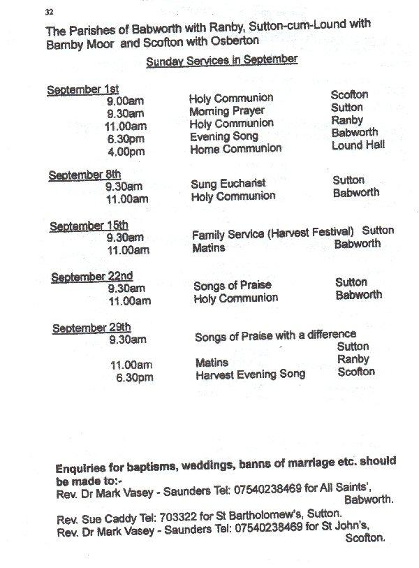 Church Service Times - September 2013