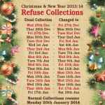 Christmas Bin Dates - December 2013