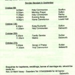Church Service Times - October 2013
