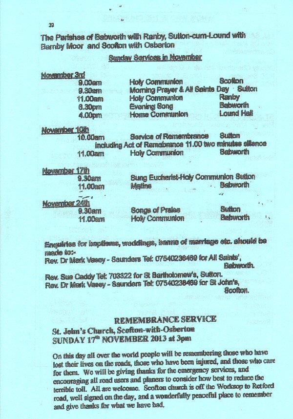 Church Service Times - November 2013