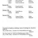 Church Service Times - The Last One - February 2014