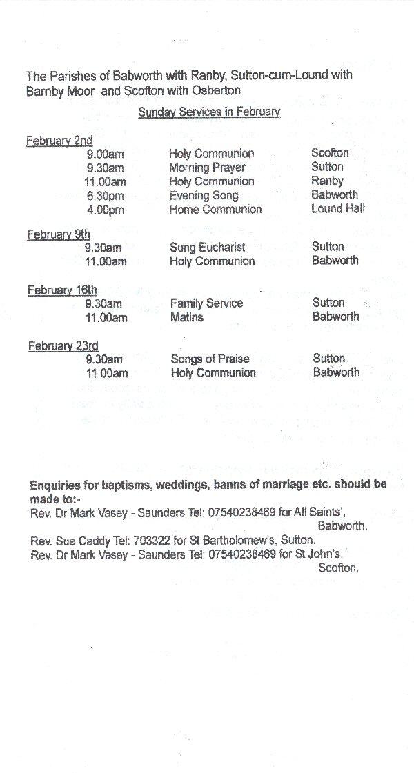 Church Service Times - February 2014