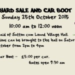 Village Hall Yard Sale and Car Boot - 25 October 2015