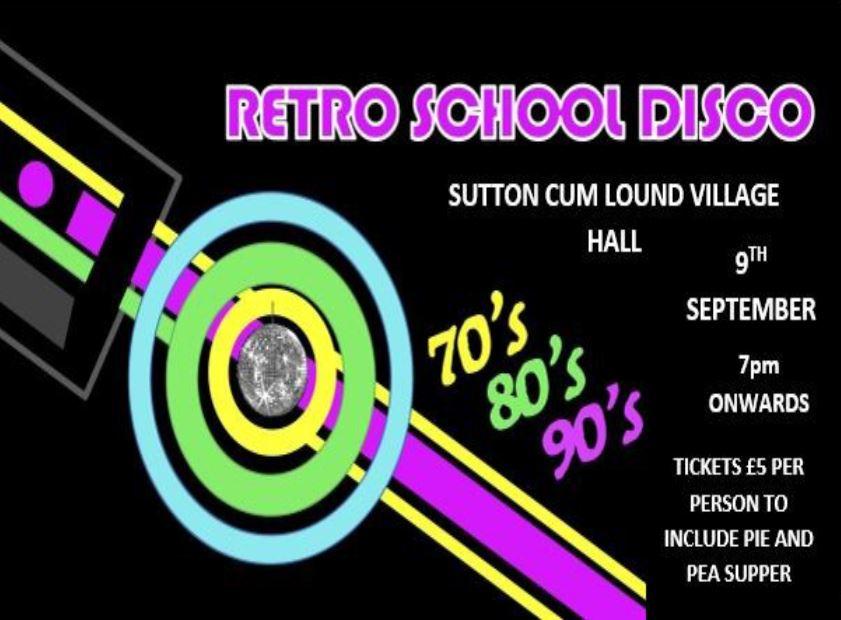 Retro School Disco - Saturday 9 September 2017