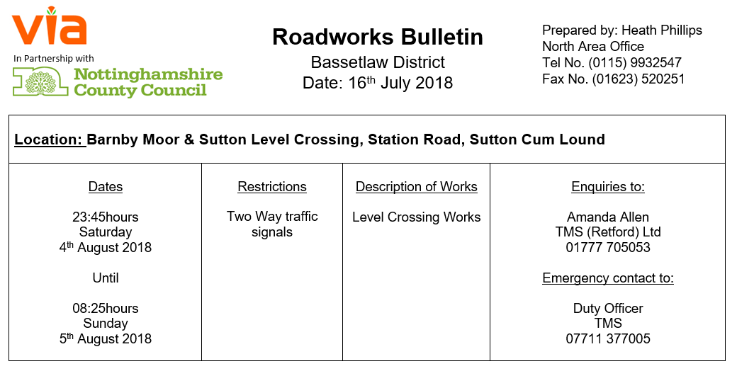 Level Crossing Roadworks - 04 August 2018