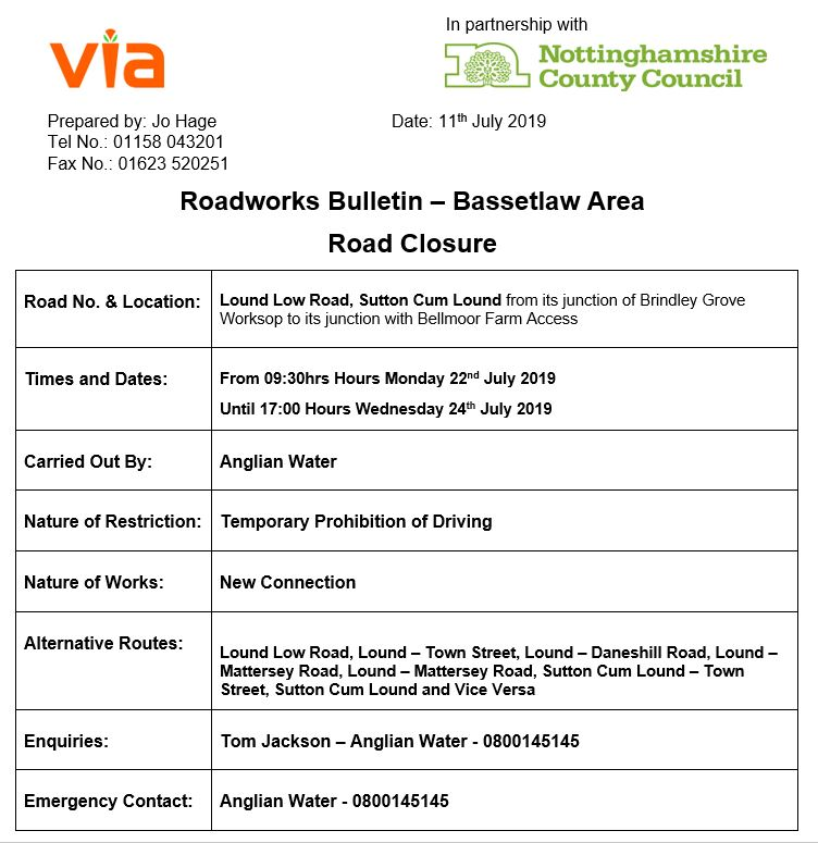 Lound Low Road Roadworks (UPDATED) - 22 to 24 July 2019