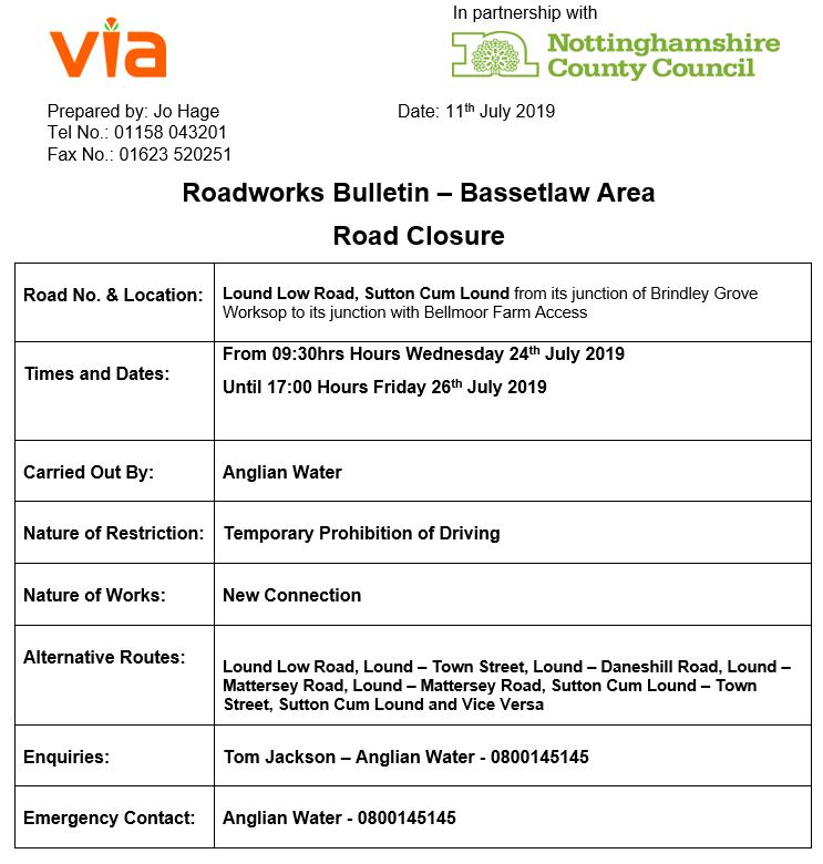 Lound Low Road Roadworks - 24 to 26 July 2019