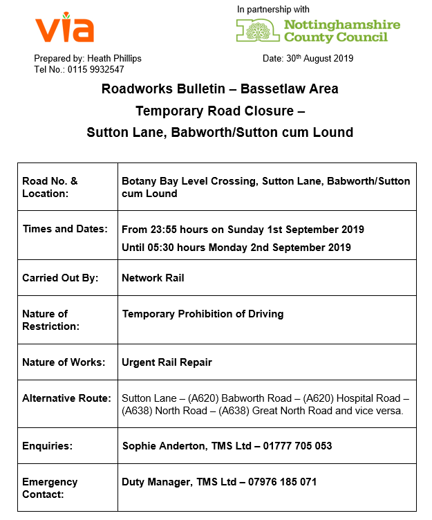 Botany Bay Level Crossing Closure - 01 to 02 September 2019