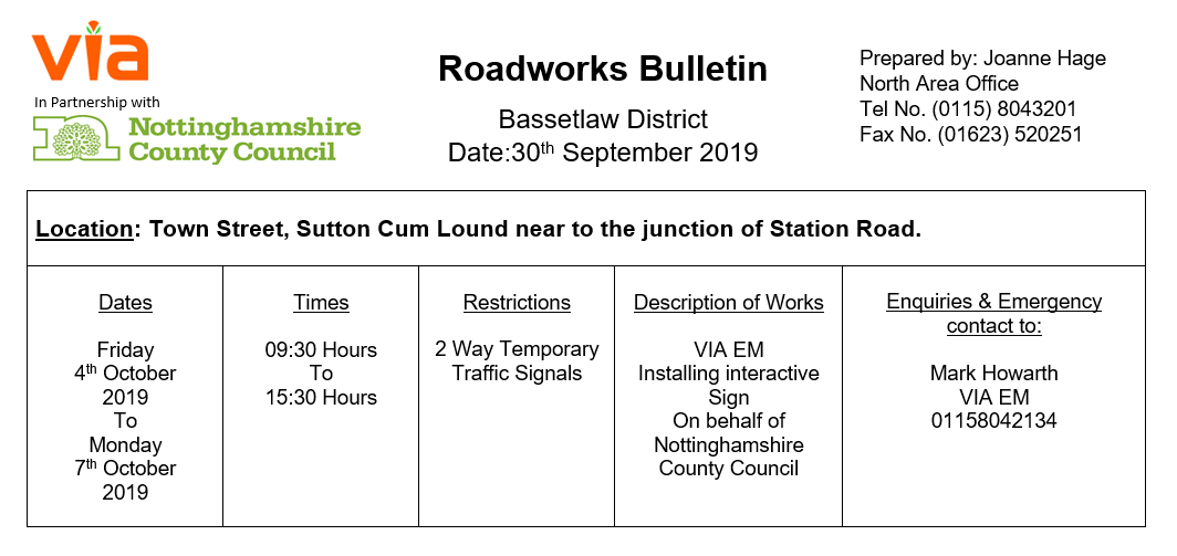 Town Street Temporary Traffic Signals - 04 to 07 October 2019