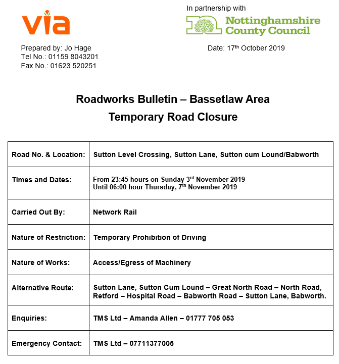 Sutton Lane Crossing Closures - 03 to 07 November 2019