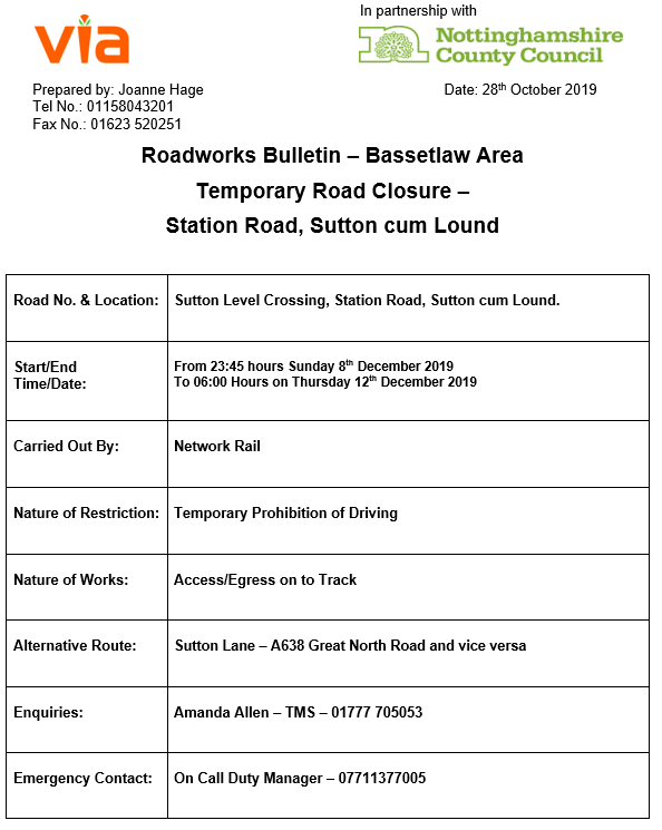 Station Road Crossing Closures - 08 to 12 December 2019