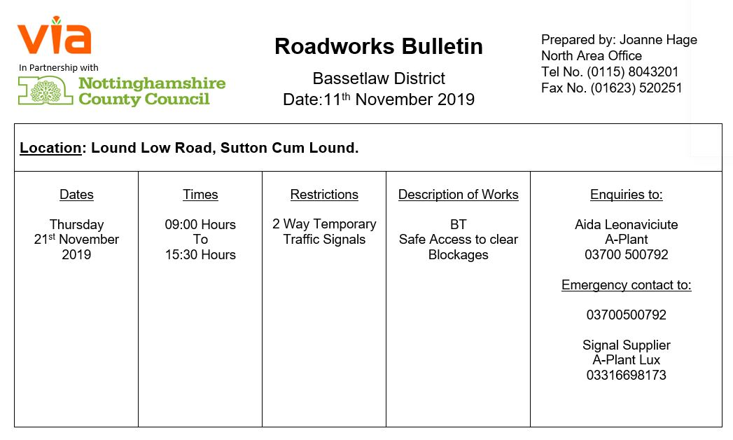 Lound Low Road Temporary Traffic Signals - 21 November 2019