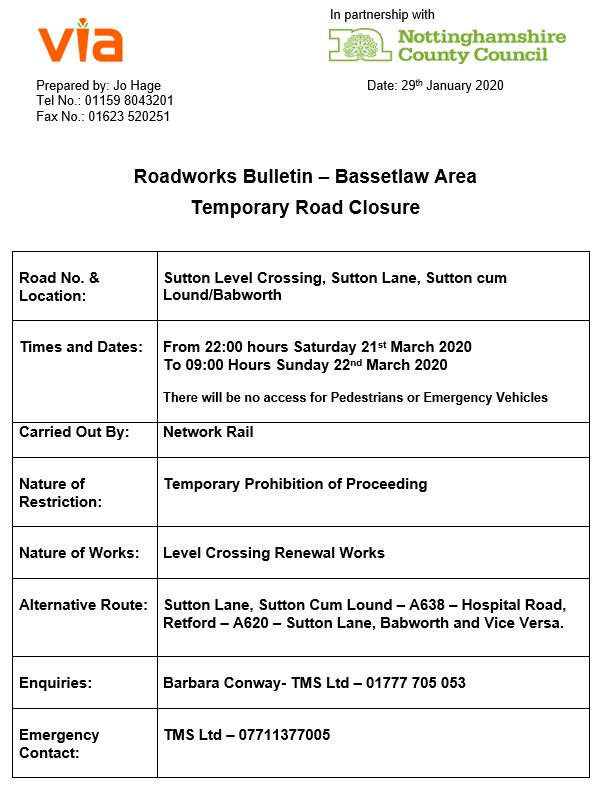 Station Road Crossing Closures - 21 to 22 March 2020