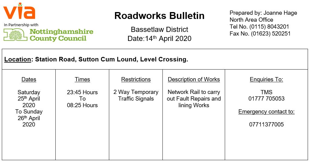 Station Road Temporary Traffic Signals - 25 April to 26 April 2020