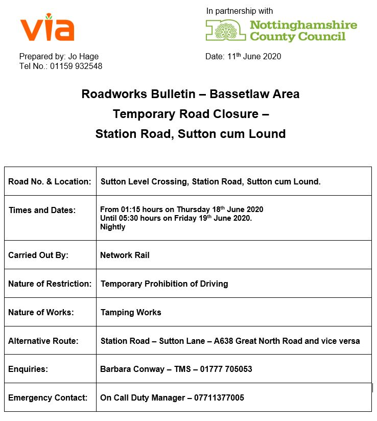 Station Road Crossing Closures - 18 to 19 June 2020
